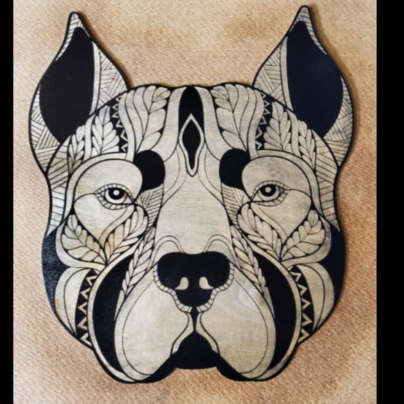 Laser Engraved PItbull with Cropped Ears Decor